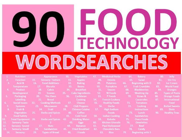 90 Food Technology Wordsearches Keyword Starters Settlers Wordsearch Cover Lesson Homework Plenary