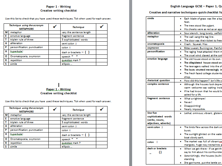 AQA English Language; writing for papers 1 and 2 - self assessment checklist