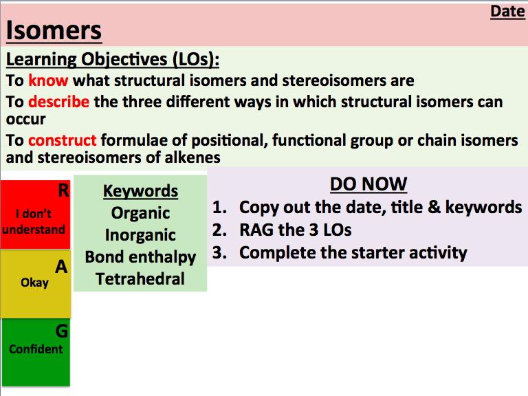 KS5 Chemistry: Isomers (AQA)