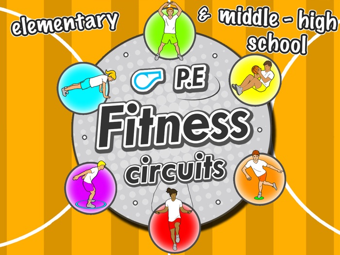 Fitness Circuit Station cards - 36 PE printables for elementary & middle school sport