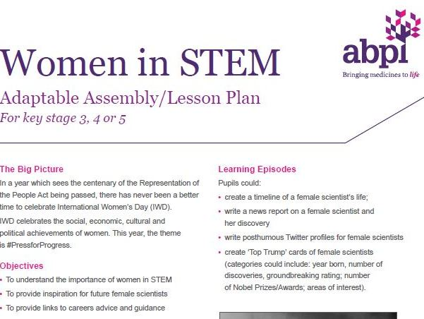 International Women's Day Assembly/Lesson Plan adaptable to Key stage 3, 4 or 5