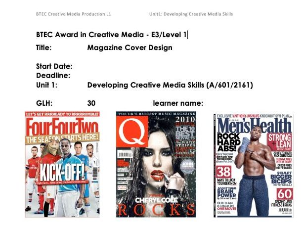 Developing Creative Media SKills/ Magazine Cover Design