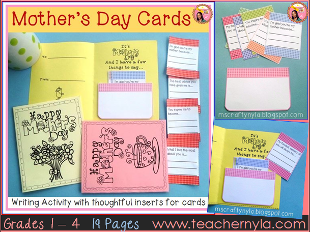 Mother's Day Cards with Writing Activity