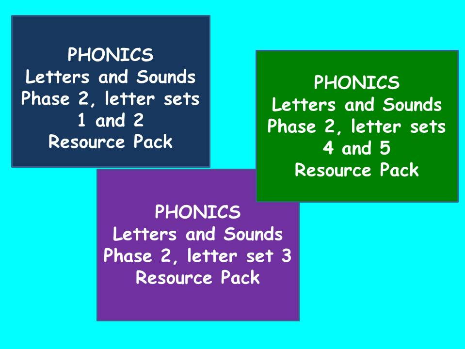 Three Phase 2 Letters and Sounds Phonics Resource Packs
