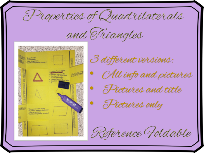 Properties of Quadrilaterals and Triangles foldable reference guide