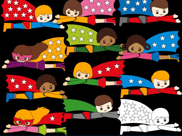 Counting stars in superhero cape clipart - Fun marth clip art