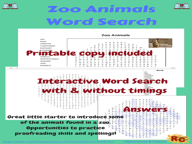 Zoo Animals Interactive Word Search Puzzle