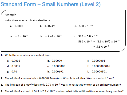 Standard Form Small Numbers Level 2 By Jdstrauss Teaching