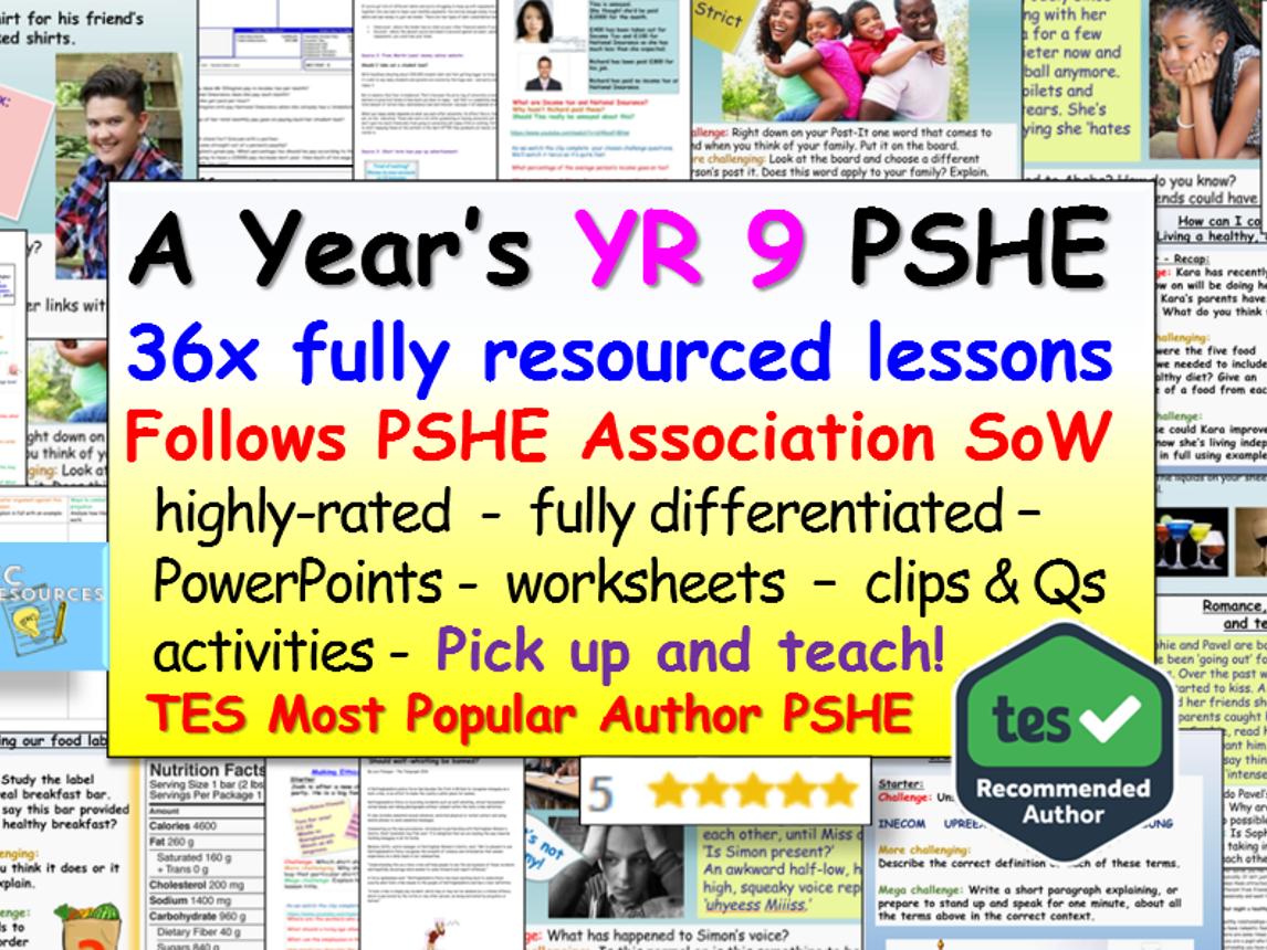 PSHE: 1 Year's YR 9 PSHE + RSE