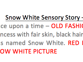 Snow White sensory story