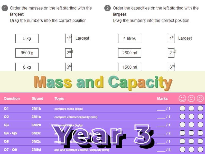 Mass and Capacity Worksheet + Answers (KS2 - Year 3)