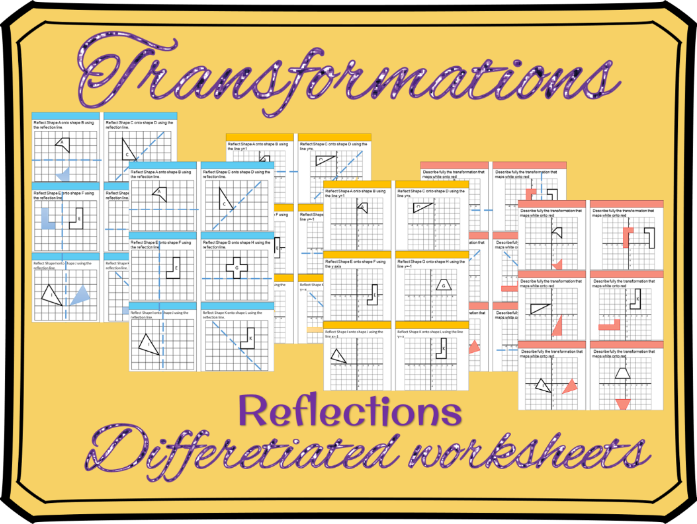 Transformations - Reflections differentiated worksheets