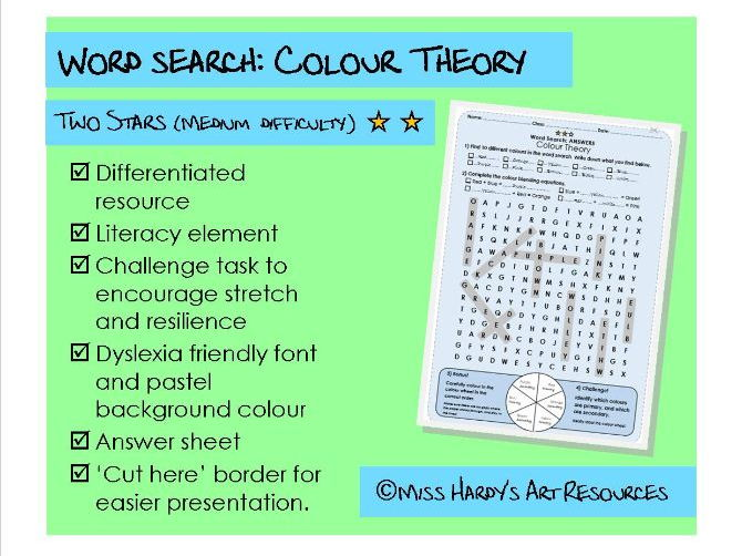 Art&Design - Colour Theory - Wordsearch - Medium Difficulty - Starter/Plenary/Homework