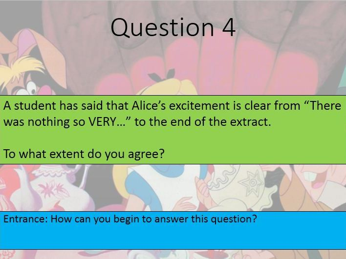 Language Paper 1 Section A Questions 1 - 4 on Alice in Wonderland