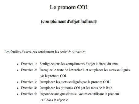 the indirect object in French (le COI et pronom COI)