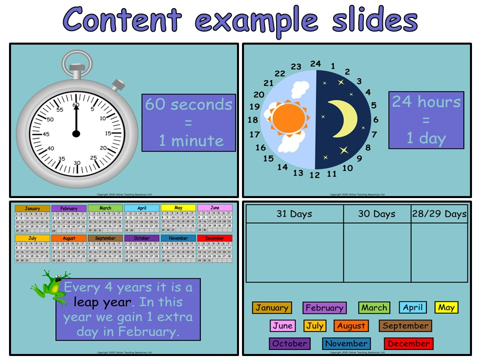 Time Measurement - Year 3 - Animated PowerPoint presentation and worksheet