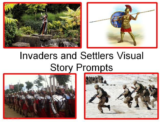Invaders and Settlers Visual Story Prompts - in the past and future, and 31 Exciting Teaching Tasks