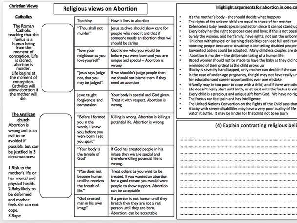 AQA Religious Studies Abortion and religious views worksheet
