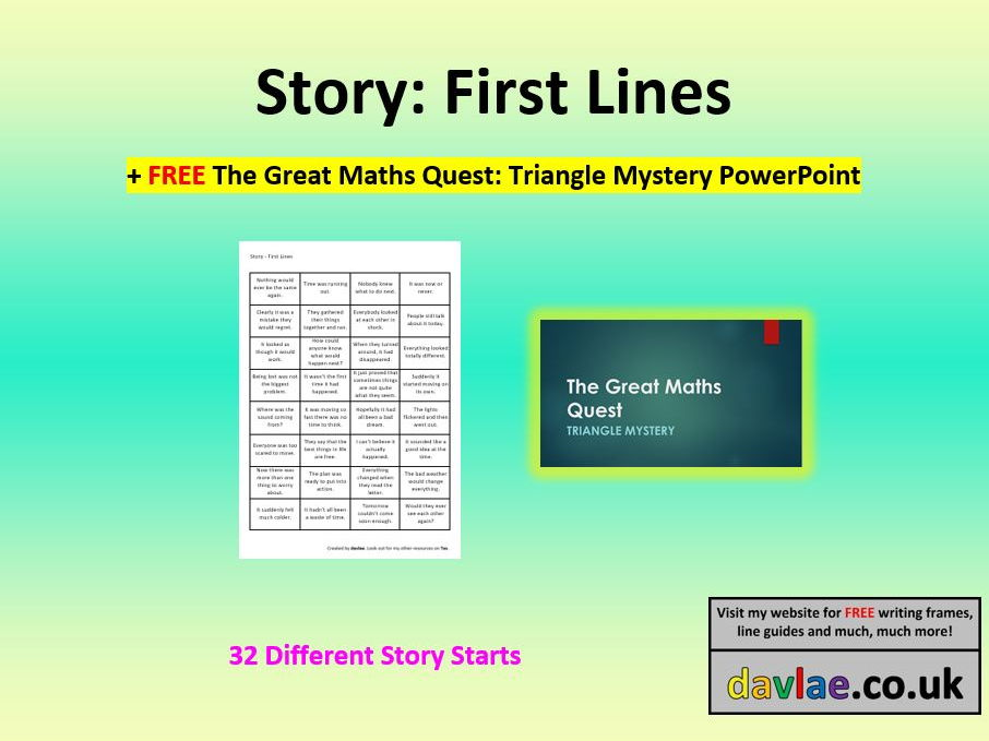 Story: First Lines (+ FREE THE GREAT MATHS QUEST: TRIANGLE MYSTERY ...