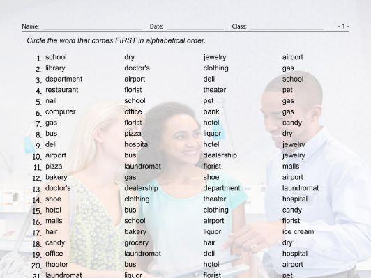 Places-Buildings Alphabetical Order Worksheet