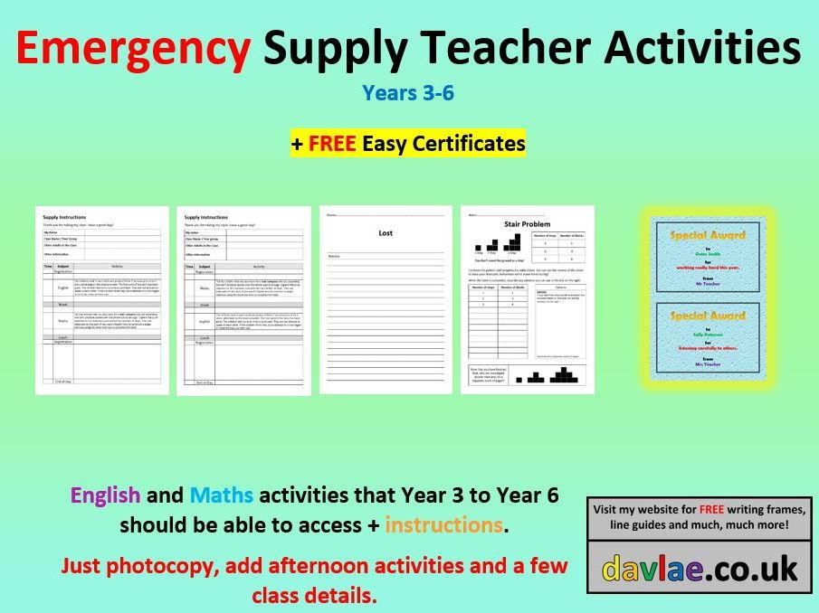 Emergency Supply Teacher Activities (+ FREE EASY CERTIFICATES)