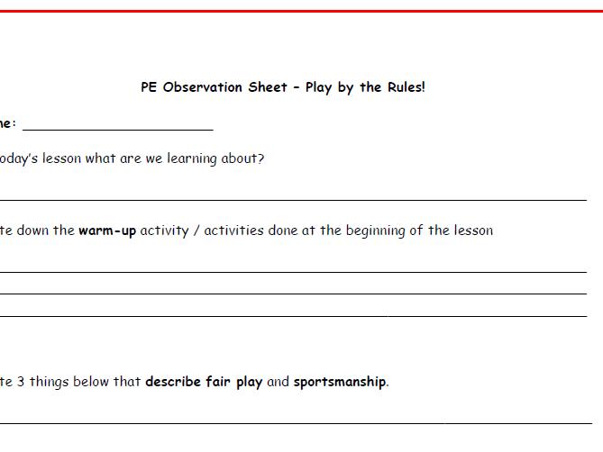 Non-participant PE Observation Sheets
