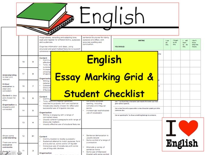 English 9-1 Essay Marking Grids and student self checklist.