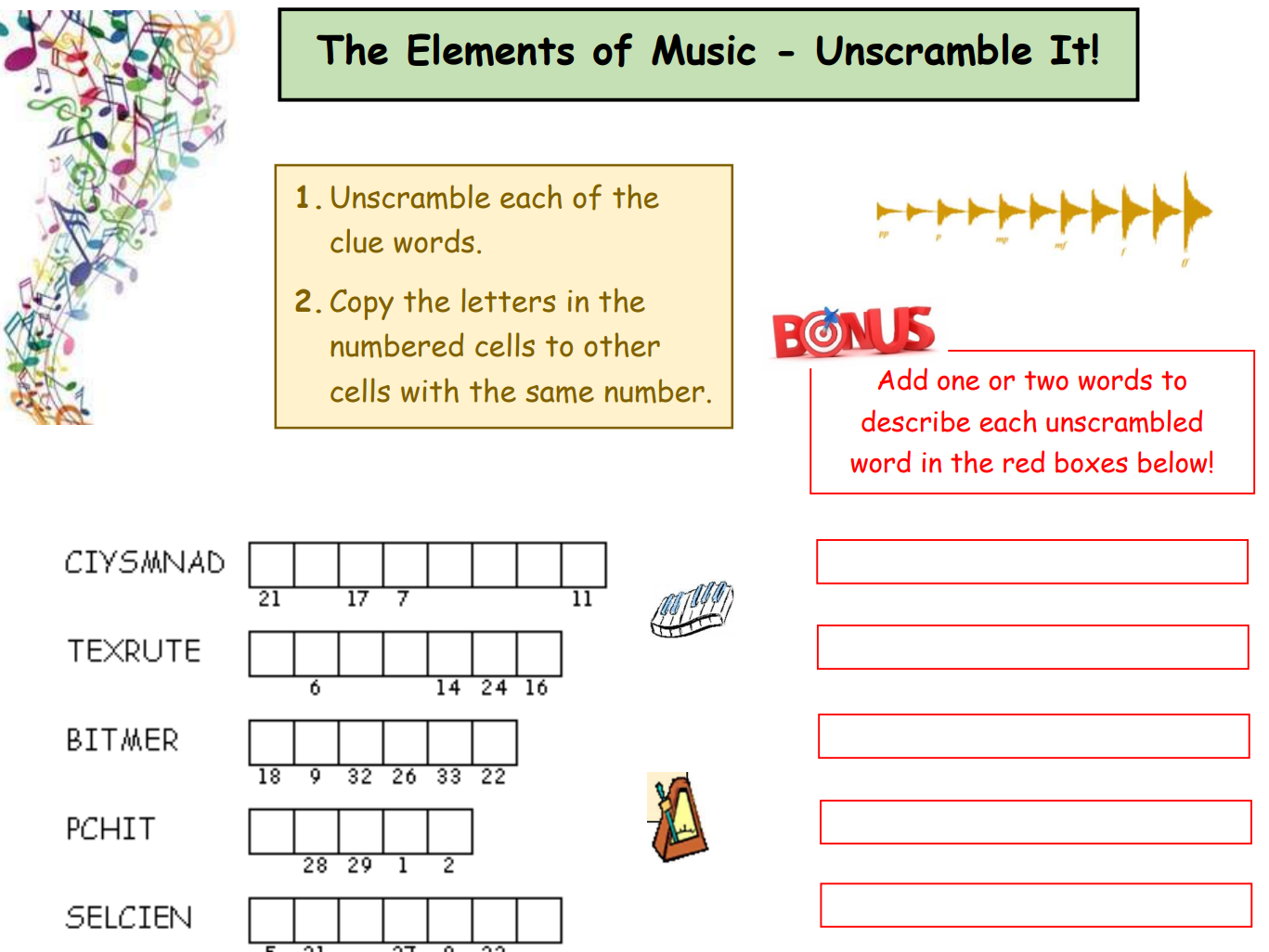 Elements of Music - Activity Pack Plus (8 varied activities)