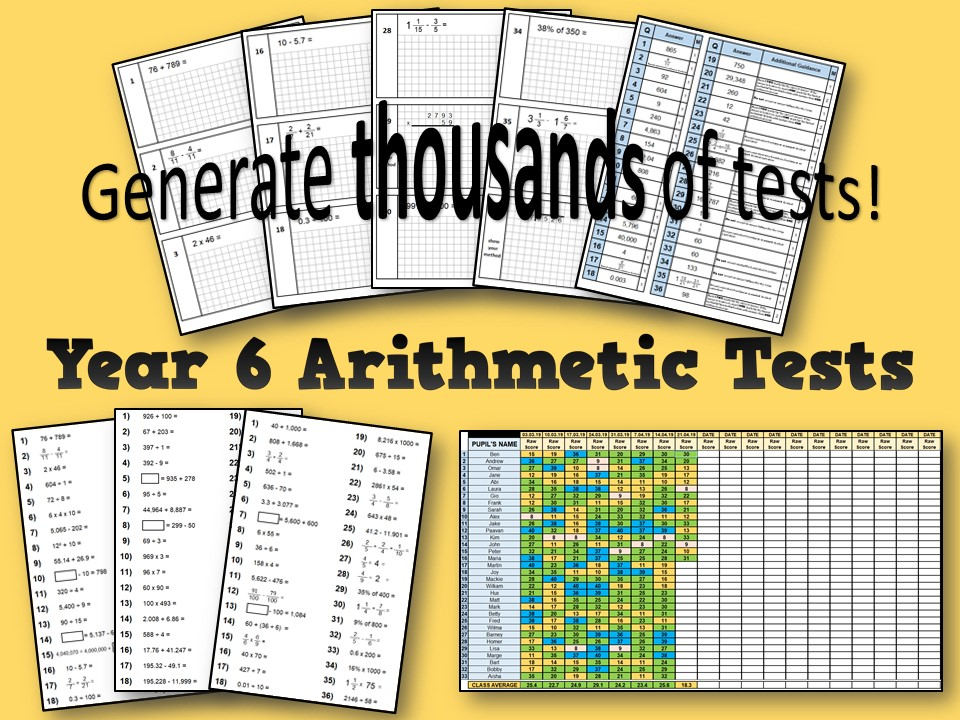 Year 6 Arithmetic Test – Free Sample