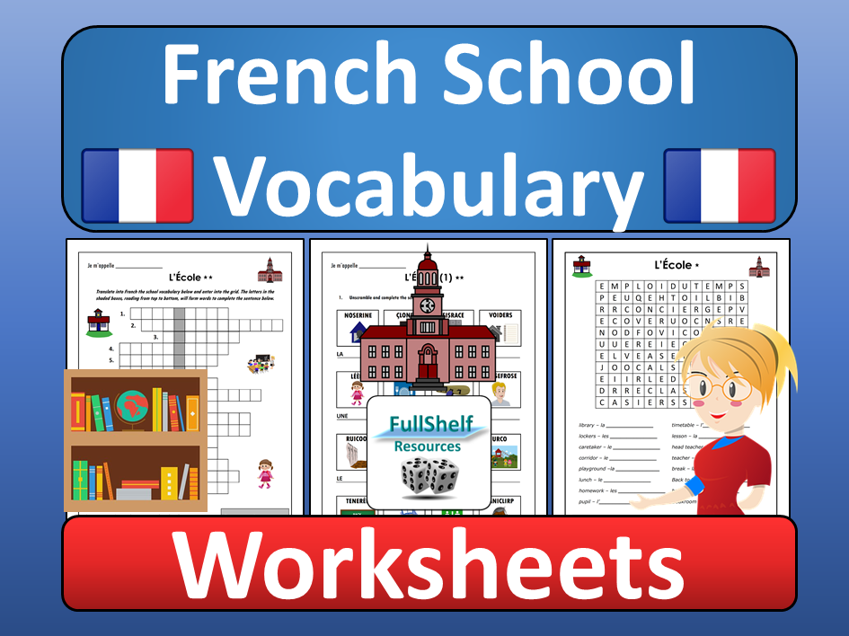 French School Vocabulary Worksheets (L'ecole)