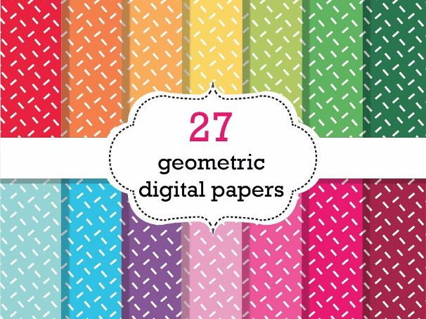 27 Geometric Digital Papers Scrapbook Papers, Geometric Background Papers