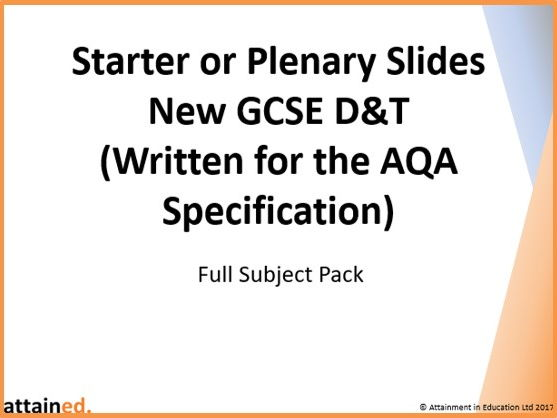 Starter or Plenary Slides for NEW GCSE D&T (AQA) - Full Subject Pack