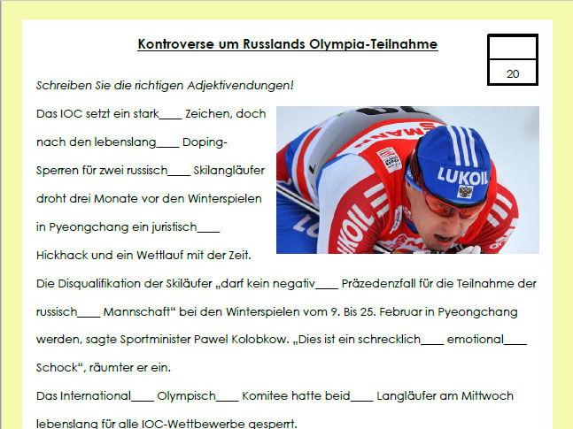 Doping in Sport - Adjektivendungen