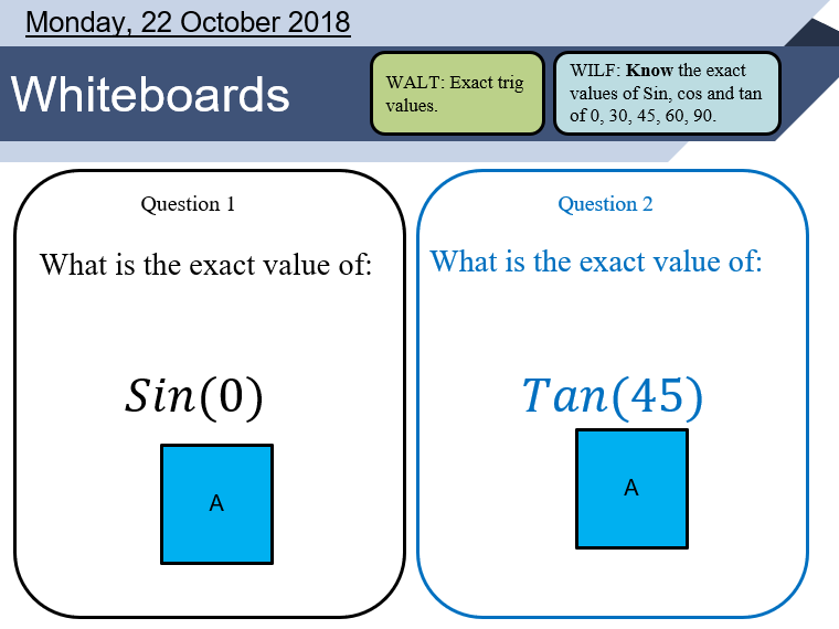 Trig exact values lesson