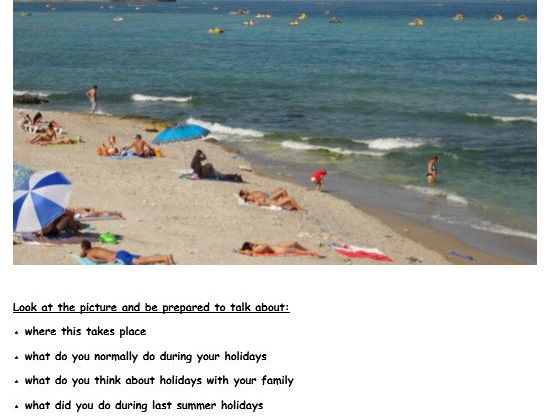 GCSE French Picture-based task (holidays)