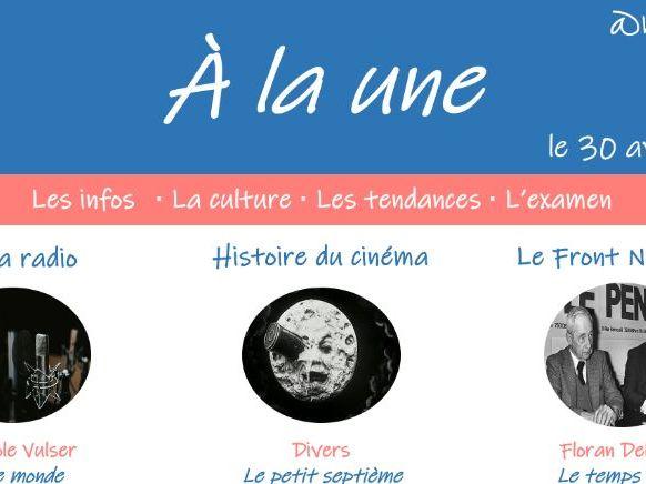 A la une - Magazine for A Level French