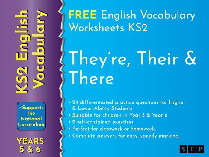 There Their They're Worksheets Year 5 Year 6 KS2