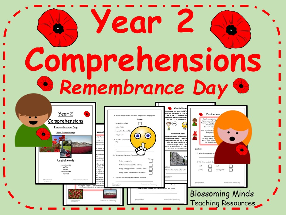 Year 2 Comprehensions - Remembrance Day - Differentiated Levels