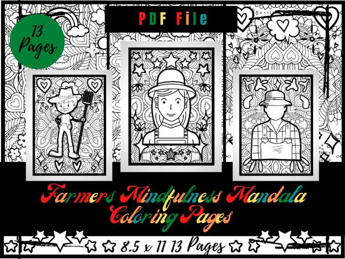 Farmers Mindfulness Mandala Colouring Pages, Agriculture Printable Sheets PDF
