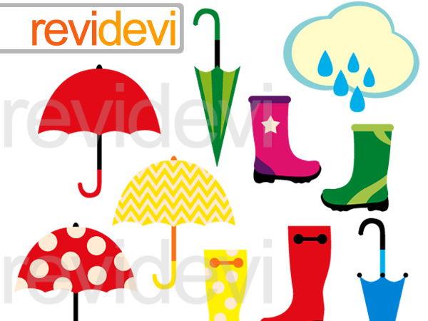 Rainy days graphic clip art digital: umbrella, cloud, boots