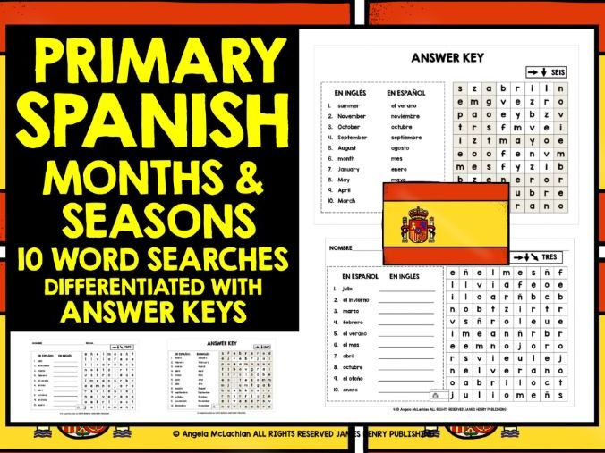 PRIMARY SPANISH MONTHS & SEASONS WORD SEARCHES