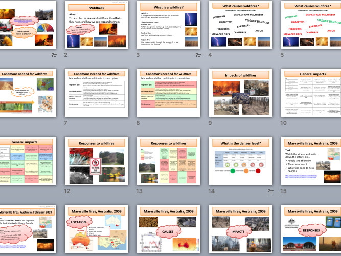 Wildfires - causes, effects, responses, and Black Saturday case study (AQA A Level)
