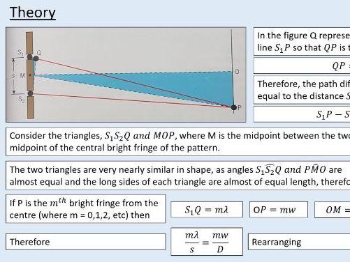 A level Physics (5.4) Double slit interference (Optics)