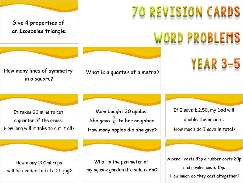 70 Word Problem Revision Cards year 3, 4 and 5