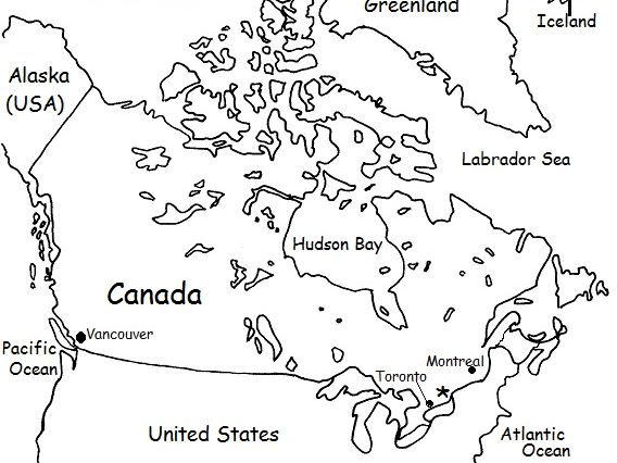 Canada - Printable handout with map and flag