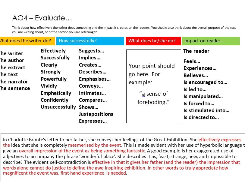 Edexcel English Language AO4 Evaluate Support Mats with Examples 9-1 GCSE