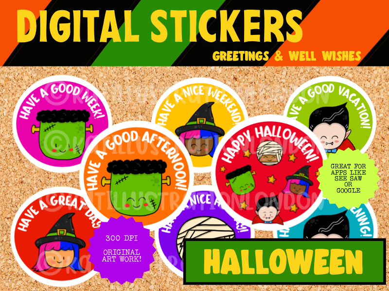 Digital Stickers - Halloween Greetings And Well Wishes For Seesaw etc