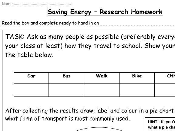 Saving Energy (Research and Data Collection Activity) - (KS3) Energy