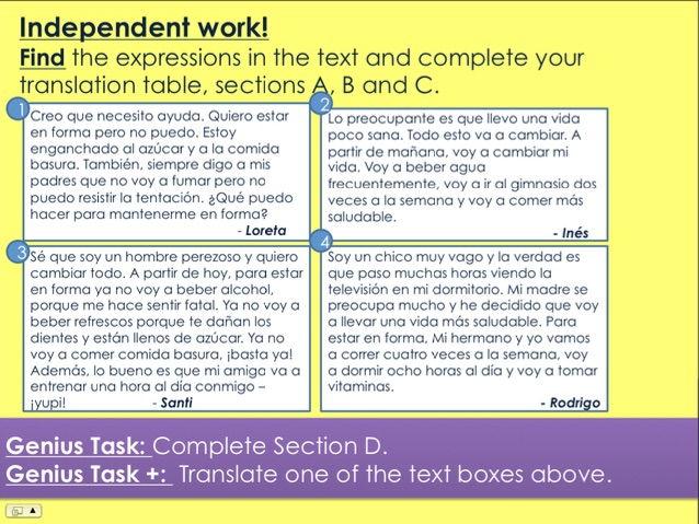 KS3/4 Spanish - Body & Health (Future Tense) [Reading/Speaking Activities included]