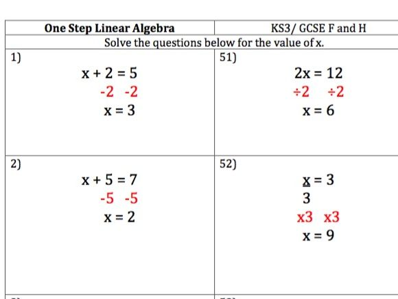 Maths KS3/ GCSE - 100 One Step Linear Equations Questions and Worked Answers Home Learning